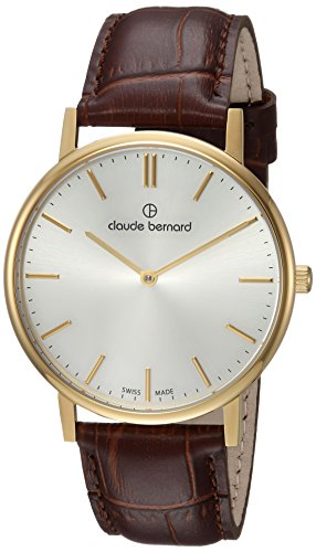 Claude Bernard Men's 'Classic Gents' Swiss Quartz Stainless Steel and Leather Dress Watch, Color:Brown (Model: 20214 37J AID)