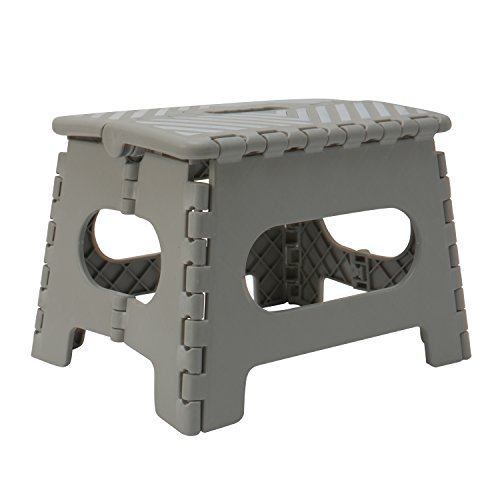 Simplify 23650-GREY Folding Step Stool-Lightweight, Sturdy and Safe, Carrying Handle, Easy to Open, for Kitchen, Bathroom, Bedroom, Kids or Adults, 1 Pack, Grey