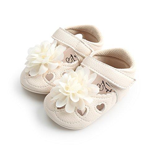 LUWU Baby Shoes Toddler Boy Girls Infant Soft Sole Leather Crib Sandals Shoes (6-12 Month, Beige Flower) (Kids Beige Sandals)