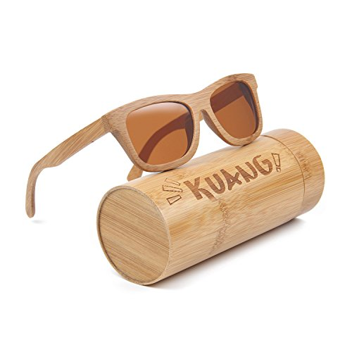 Kuang Mens Womens Bamboo Wood Sunglasses Floating Wayfarer Polarized Classic Eyewear with Gift - For Good Wood Sale Sunglasses
