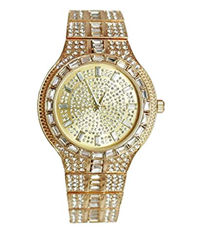 (Bling-ed Out Rapper Clubbing Watch Gold Iced Out Baguette Crystal Trim Mens Bling Bling Glitz Seen from a Mile Away - 8645 Gold)