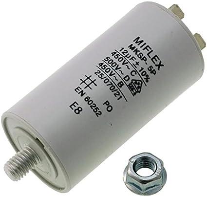 Miflex - Condensador de Arranque de Motor, Capacidad 12µF, tensión 450 V, Dimensiones 35 x 65 mm, Cable M8
