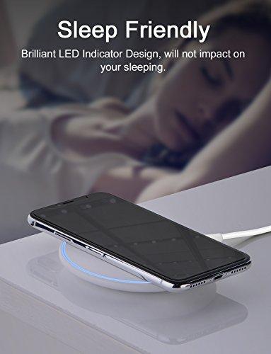 Cargador inalámbrico, Puerto Lightning interfaz de entrada, diseño único con CD líneas, iconflang 5 W ultra-slim Wireless Pad de carga para Samsung Galaxy S7/S7 Edge, S8/S8 Plus, S6/S6 Edge/S6 Edge Pl Blanco