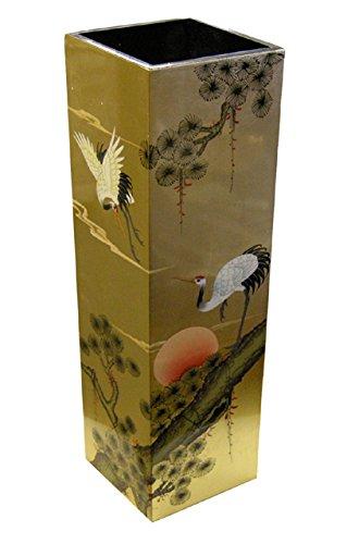 Porte-parapluie chinois - Décoration en feuilles d'or sur la laque noire - Meubles chinois de style traditionnel Grand
