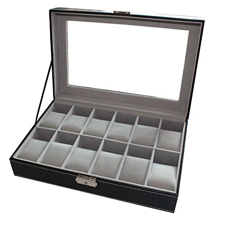 12-watch-box-large-watch-display-case-organizer-glass-top-black-pu-leather