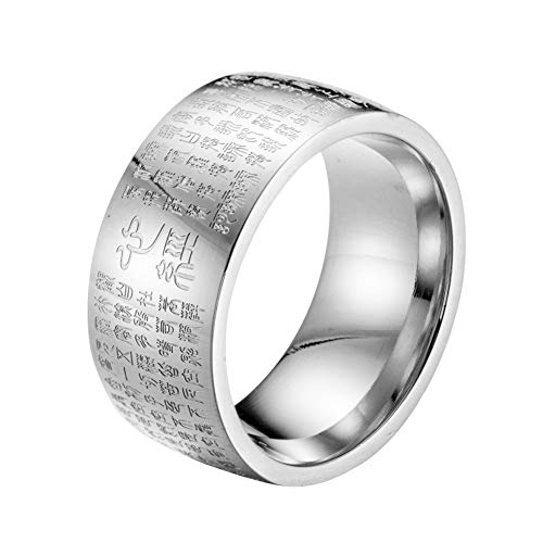 KONVINIT 10mm Chinese Heart Sutra Engraved Buddhist Rings - Designed, Safe,Titanium Steel,Men's Band, for Men Women Ring Vintage