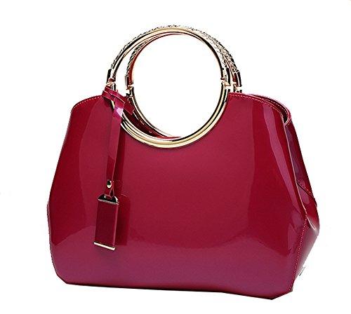shell bandouli¨¨re Rose Femmes ¨¤ Nouveau brevet sac sac en Show main Yan sac ¨¤ cuir Rouge Messenger 6ZwYg5