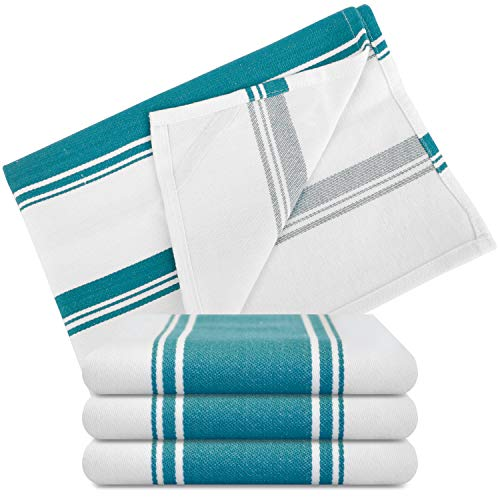 Kitchen Dish Towels - Set of 4 Cotton Tea Towels 20 x 28 inch - Best Dish Cloths for Hand Towels or Embroidery in Vibrant Colors - Teal Green