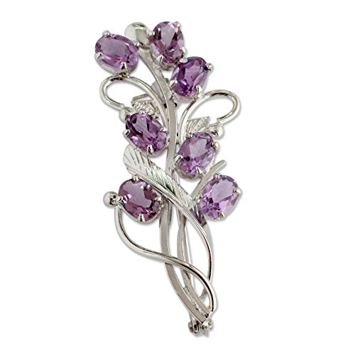 Amethyst Sterling Silver Brooch - NOVICA Amethyst .925 Sterling Silver Brooch 'Mystic Bouquet'