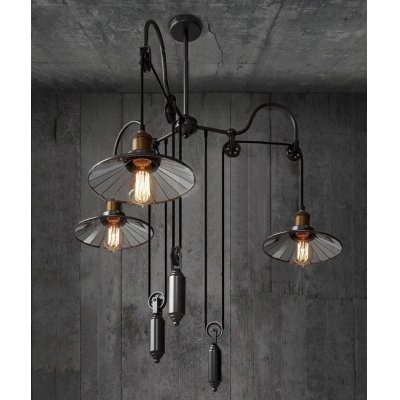 ding 3 Light Pulley Mirrored Adjustable Large Chandelier with Saucer Shade