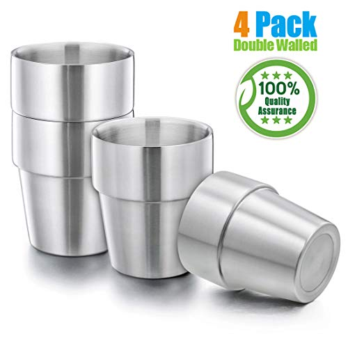 Kids Toddlers 18/8 Stainless Steel Double Walled Tumblers, HaWare 10 oz Drinking Sippy Cups for Home/Camping/Gathering, BPA-Free, Unbreakable and Dishwasher Safe(4 Pack)