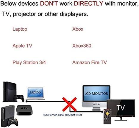 Yiany C/âble HDMI vers VGA 1,8 m Plaqu/é or 1080P HDMI m/âle vers VGA m/âle Convertisseur analogique