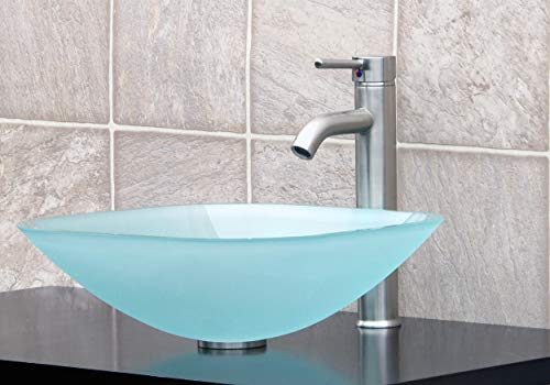 Glass Vessel Frosted Square - ELIMAX'S GD04F Frosted Square Glass Vessel Sink + Brush Nickel Faucet L07, Pop Up Drain & Mounting Ring