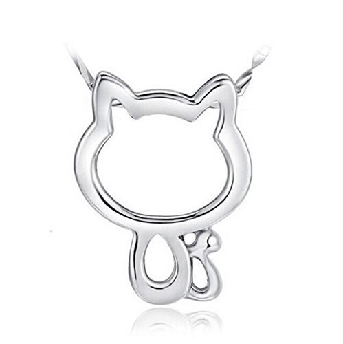 Girl Nyan Cat Costume (Silver Kitty Charm Cat Pendant Necklace Fashion Jewelry Gift For Women Girls)