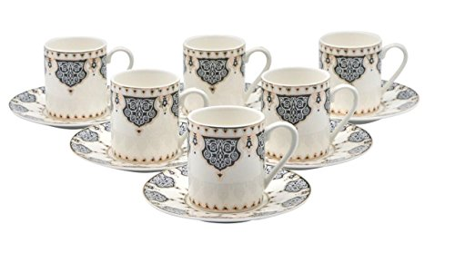 Porcelain Bone China Espresso Turkish Coffee Demitasse Set of 6 Arabesque Pattern Cups + Saucers (Black)
