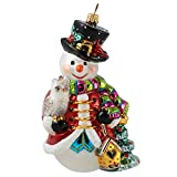Miss Christmas 2019 Collection Happy Snowman in Holiday Colors 5.5-Inch Blown Glass Christmas Tree Ornament