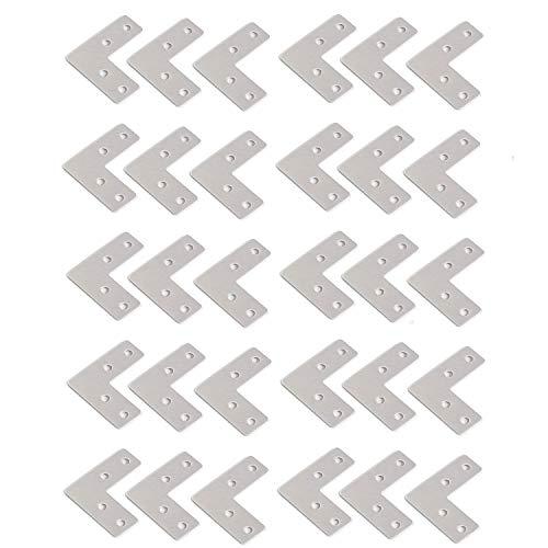 Rannb Right Angle Bracket L Shaped Flat Fixing Mending Repair Plates Corner Brace - Pack of 30 (40mm x 40mm x 1mm)