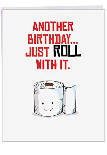 Hysterical Puns Roll Birthday Card with Envelope (Large 8.5 x 11 Inch) - Cute Adult Humor Birthday Greeting Notecard - Funny Toilet Paper B-day Joke Card for Women, Men J6119CBDG