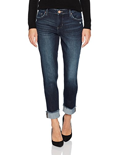 Riders by Lee Indigo Women's Fringe Cuff Boyfriend Jean, Dark wash, 12