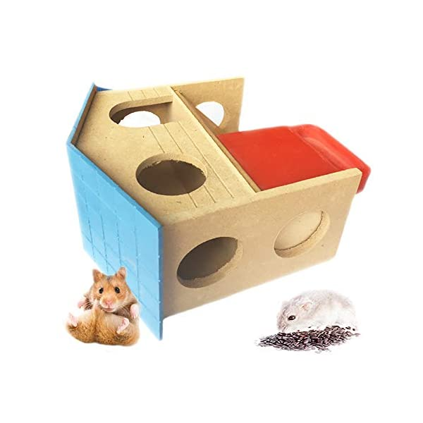 kathson Pet Small Animal Hideout Hamster House with Funny Climbing Ladder Deluxe Two Layers Wooden Hut Play Toys Chews for Small Animals Like Dwarf Hamster and Mouse 3