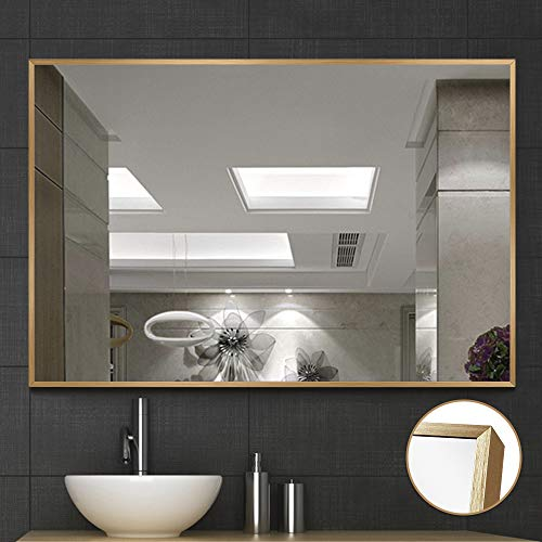 NeuType Large Wall Mounted Mirrors for Bathroom Bedroom Living Room, Vanity Mirror, Brushed Aluminum Alloy Thin Frame, Burst-Proof Glass, Horizontal or Vertical Hanging, 36 x24 , Gold