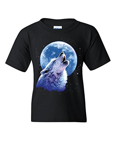 Call of The Wild Youth T-Shirt Lone Wolf Howling at The Moon Wildlife Kids Tee Black S ()
