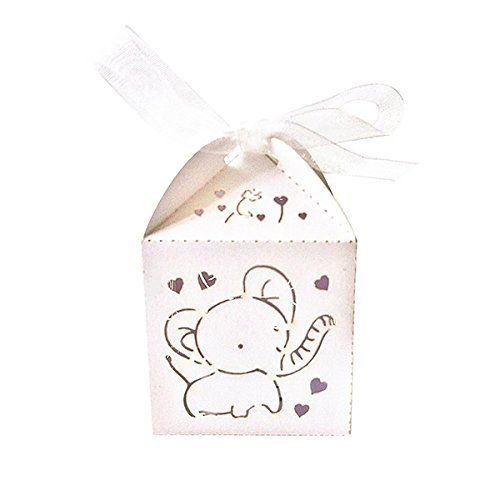 NUOLUX Hollow Out Elephant Pattern Candy Boxes Gift Bags Wedding Favors Ribbons Pack of 50 (White) ()