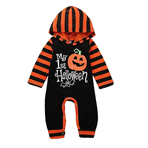 One Piece Romper Newborn Boys Girls My 1st Halloween Pumpkin Hooded Romper Jumpsuit Stripe Onesies (Black, 6-12 Months) ()