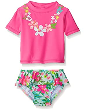 Baby Girls' Short Sleeve Rash Guard Set with Ruffle Skirted Bottom