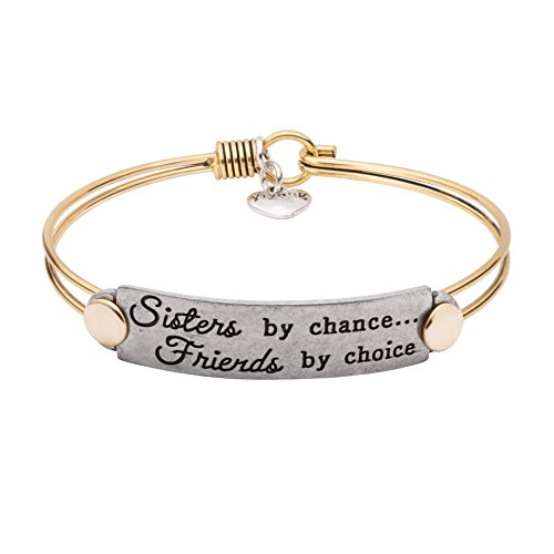 UNQJRY Friendship Jewelry Gift for Women Inspirational Engraved Handmade Sisters by Chance Friends by Choice