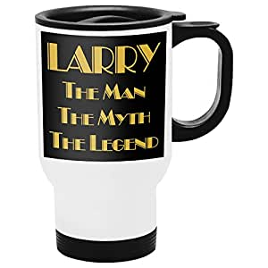 Larry Travel Mug, Personalized Gift, The Man the Myth The Legend - Gold Black 2