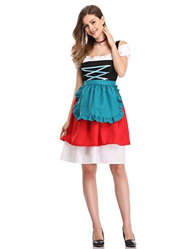Rosso Grembiule Midi Abito in KOJOOIN Oktoberfest da Con Abito Verde Donna Tre Costumi Camicetta Tradizionale Dirndl per Scuro pezzi wUwq0yS6