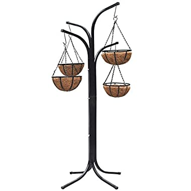 Yaheetech 4 Arm Tree Plant Flowers /w 4 Coco-lined Baskets Hanging Garden Yard Lawn