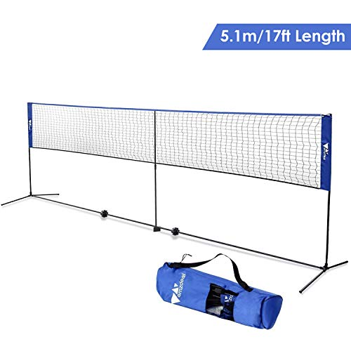 - Amzdeal Badminton Net 17ft Kids Volleyball Net Portable Net for Badminton, Tennis, Pickleball, for Indoor/Outdoor Beach, Court, Backyard, with Stand/Frame