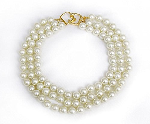 KENNETH JAY LANE -3 ROW 12MM PEARL (AKA) BARBARA BUSH NECKLACE