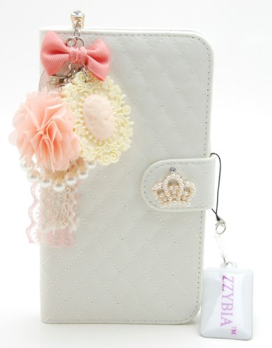ZZYBIA® Galaxy Mega 6.3 QCV Leatherette Stand Case Card Holder Wallet with Romantic Victorian Dust Plug Charm for Samsung Galaxy Mega 6.3 I9200 I9205 (Off White)