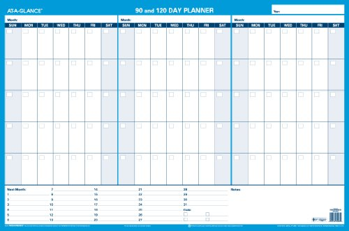 AT-A-GLANCE 90 and 120-Day Undated Horizontal Erasable Wall Planner, 36 x 24 inches, Packaged Flat (PM239B-28) (Horizontal Erasable Wall Calendar)