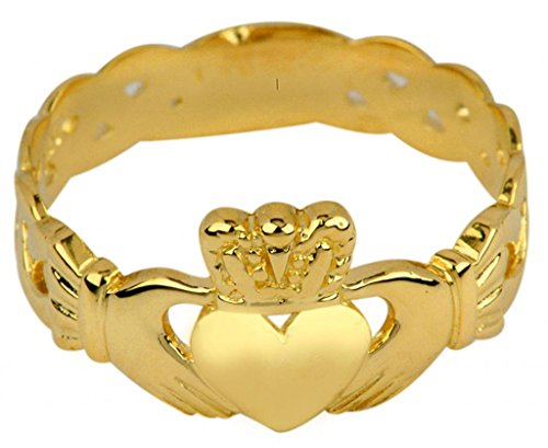 Ladies 14k Gold Claddagh Ring with Trinity Band (7.25) by Claddagh Rings (Image #1)