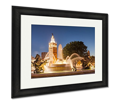 Ashley Framed Prints Kansas City Missouri Fountain At Country Club Plaza, Office/Home/Kitchen Decor, Color, 30x35 (frame size), Black Frame, - Plaza Club Country Shops