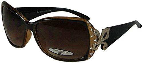 Bling Oversize Sunglasses with Fleur de Lis UV400 Polycarbonate Lens - Sunglasses Fleur