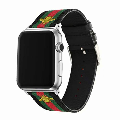 Gucci Watch Strap - Mortree Sport Band Compatible with Apple Watch,Replacement Wristband Green and Red Striped Nylon Strap with Embroidered Golden Bees,Back Leather Band for Iwatch Series 1/2/3/4(B/G/R, 42mm or 44mm)