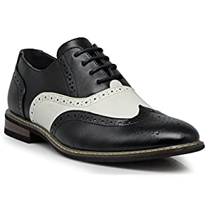 Enzo Romeo Wooden08N Men's Two Tone Wingtips Oxfords Perforated Lace Up Dress Shoes