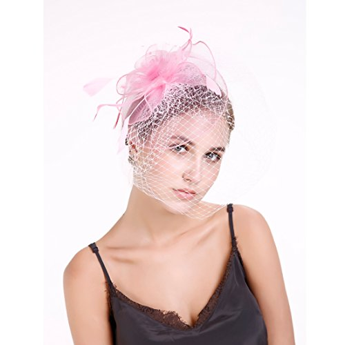 , Vintage Mesh Net Wedding Feather Fascinators Headband and Clip for Girls and Women Pink ()
