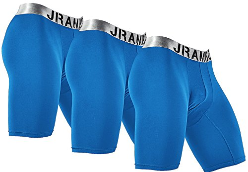 JRAMBO Mens Home Wear Underwear Tight Fit Boxers Lightweight Comfortable Active Underwear Shorts (Pack of 3) Blue X-Large by JRAMBO