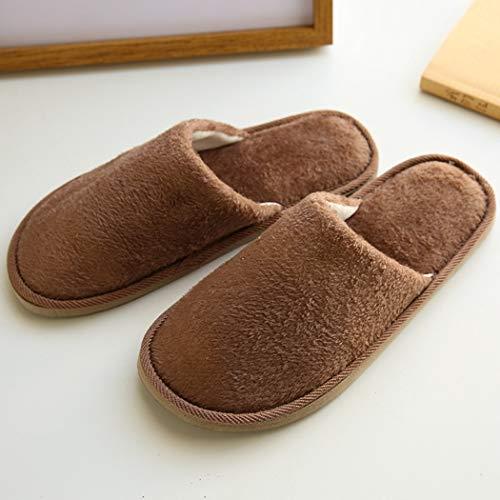 Marron D'intérieur Coton D'hiver En Doux Femmes Donad Hommes Pour Automne Pantoufles Chaudes Peluche wR47WxZ