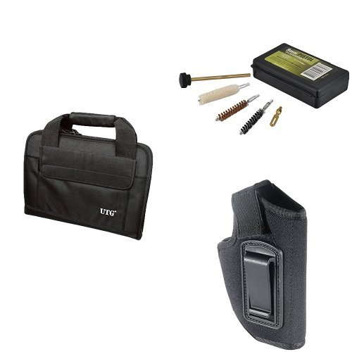 UTG Personal Defense Bundle- Deluxe Pistol Case, Concealed Belt Holster and Cleaning Kit