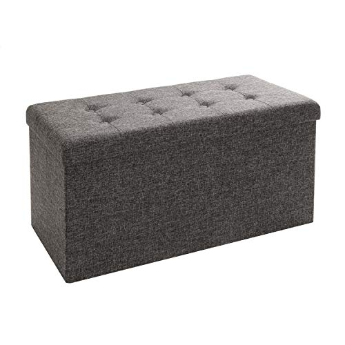 (Seville Classics WEB284 Foldable Storage Bench/Footrest/Coffee Table Ottoman, Single, Charcoal Grey (Renewed))
