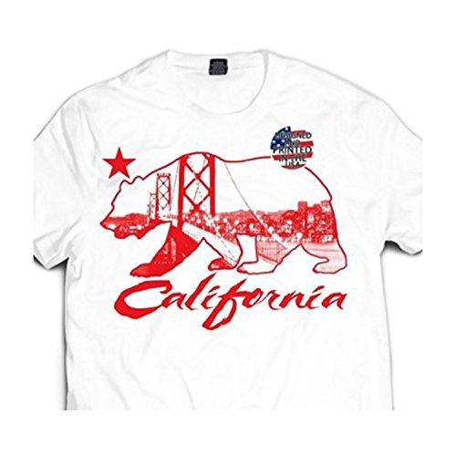 Men's White / Red California Republic Bear Bay Area Bay Bridge T shirt Cali (XL - Extra Large Mens)