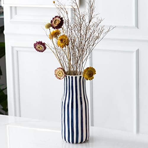 Tenforie Ceramic Flower Vase, Elegant Stripe Design Decorative Table Floral Vase for Living Room Indoor Home Decor, Wedding Centerpieces Arrangements,Bottom Waterproof