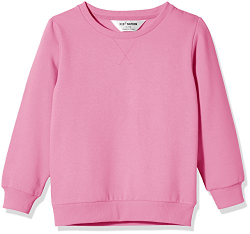 Kid Nation Kids' Slouchy Solid Brushed Fleece Sweatshirt for Boys Girls XL Pink